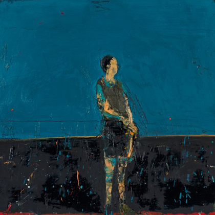 Standing figure (blue background)