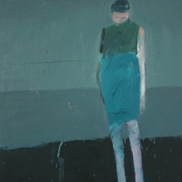 Woman with head down