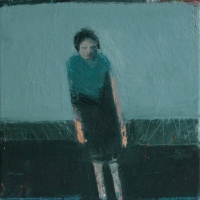 Standing Woman with blue scarf