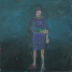 Woman wearing violet dress