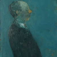 Man with blue background