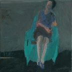 Woman on blue armchair