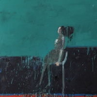 Woman Looking (Blue Green)